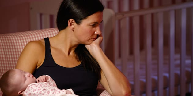 New Mother Suffering From Post Natal Depression.
