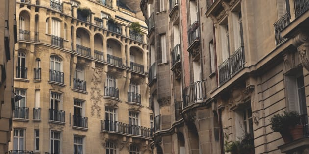 Architecture styles of apartment buildings in Paris, France.