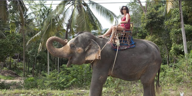 female tourist with red dress rides an elephant in Thailand along the street