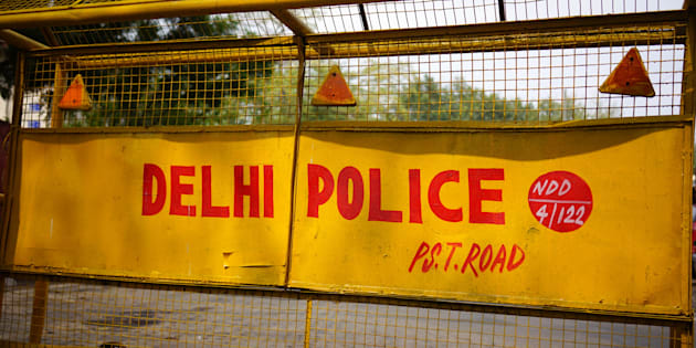 Delhi Police Road Barrier,  New Delhi, India