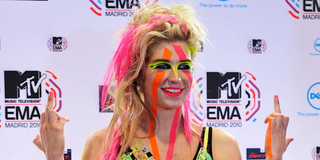 MADRID, SPAIN - NOVEMBER 07:  Ke$ha poses in front of the media boards at the MTV Europe Music Awards 2010 at La Caja Magica on November 7, 2010 in Madrid, Spain.  (Photo by Carlos Alvarez/Getty Images)