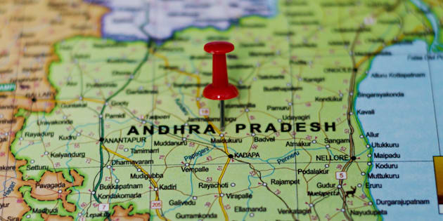 Andhra Pradesh Marked on Map with Red Pushpin
