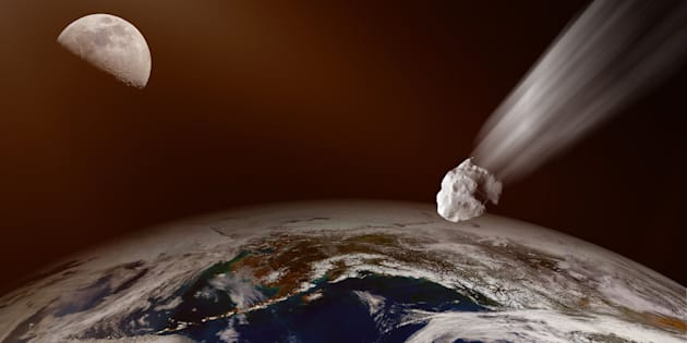 Asteroid flight at Earth. .(Some graphics in this image is provided by NASA and can be found at http://visibleearth.nasa.gov and https://www.nasa.gov/)