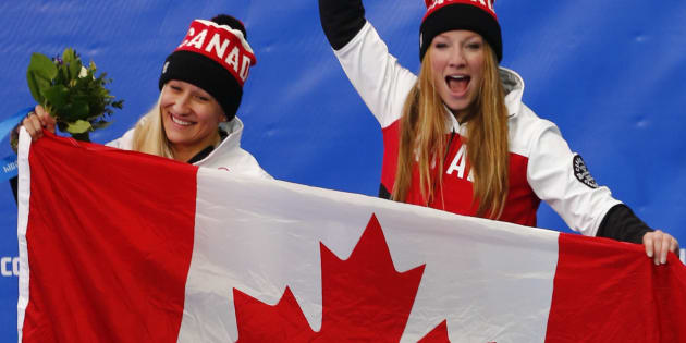 Kaillie Humprhies et Heather Moyse à Sotchi, en 2014.
