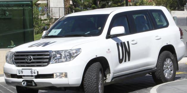 Une voiture de l'OIAC le 7 octobre 2013 arrive à Damas (photo d'illustration)