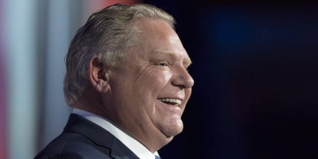 Ontario Premier Doug Ford smiles while speaking in Toronto on Dec. 12, 2018.