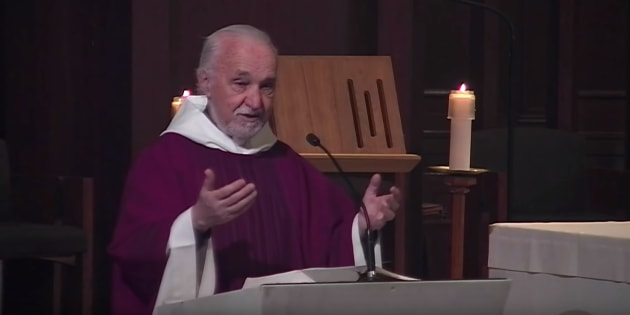 Father Claude Grou gives mass at Saint Joseph's Oratory in Montreal on March 15, 2019.
