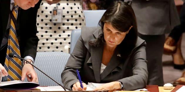 L'ambassadrice américaine Nikki Haley à l'ONU le 1er juin 2018.