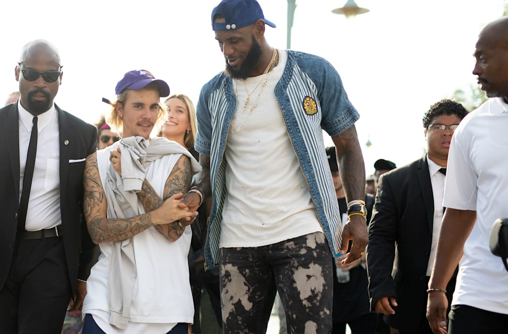 7758998094b Justin Bieber gets his sneakers signed by LeBron James -- pics ...