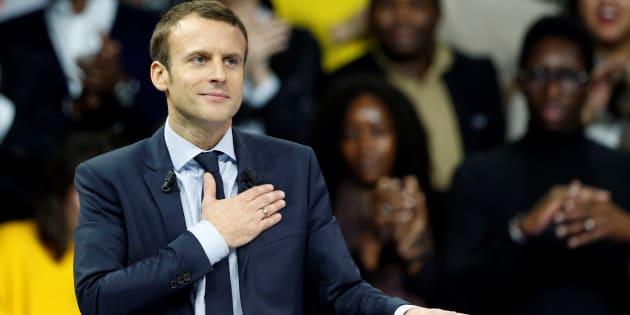 Emmanuel Macron, le leader du mouvement En Marche !, lors de son meeting Porte de Versailles à Paris, le 10 décembre 2016.