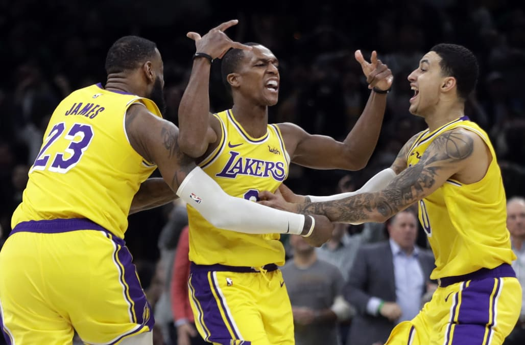 4c9953f4b4ac Los Angeles Lakers point guard Rajon Rondo sank a clutch jumper from the  elbow to beat the buzzer and lift Los Angeles past his former team