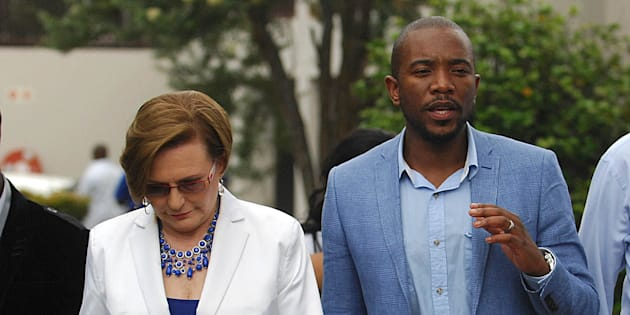 Happier days . . . Helen Zille and Mmusi Maimane at a Gauteng provincial congress in Boksburg in 2014.