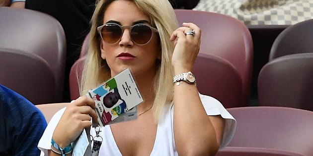La femme d'Antoine Griezmann, Erika Choperena au stade Loujniki pour la finale de la Coupe du Monde France-Croatie.