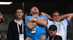 Maradona était dans un état second après le but de Messi...et K.O dans la