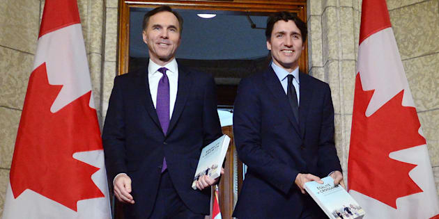 Finance Minister Bill Morneau and Prime Minister Justin Trudeau leave the prime minister's office to table the federal budget in the House of Commons in Ottawa on Feb.27, 2018.