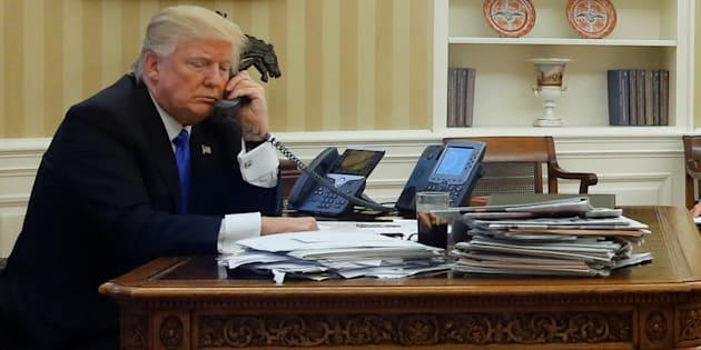 Jonathan Ernst  Reuters                       Donald Trump speaks by phone with Prime Minister Malcolm Turnbull in the Oval Office at the White House