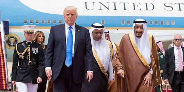 Saudi King Salman Bin Abdelaziz (or Abdul Aziz) Al Saud (right) receives US President Donald Trump and First Lady Melania in Riyadh, Saudi Arabia on May 20, 2017. This is the first US president's visit abroad. Photo by Balkis Press/ABACAPRESS.COM