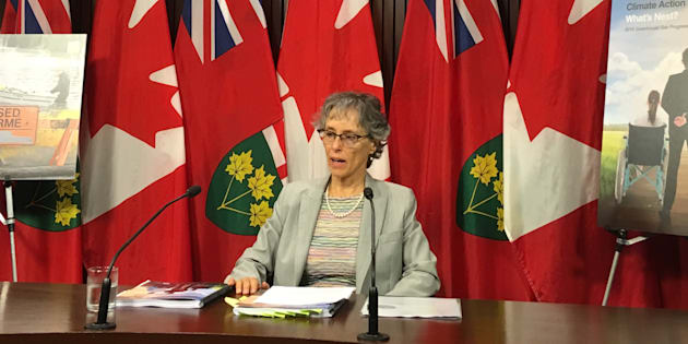 Ontario's environmental commissioner Dianne Saxe speaks to reporters at a press conference at Queen's Park in Toronto on Sept. 25, 2018.