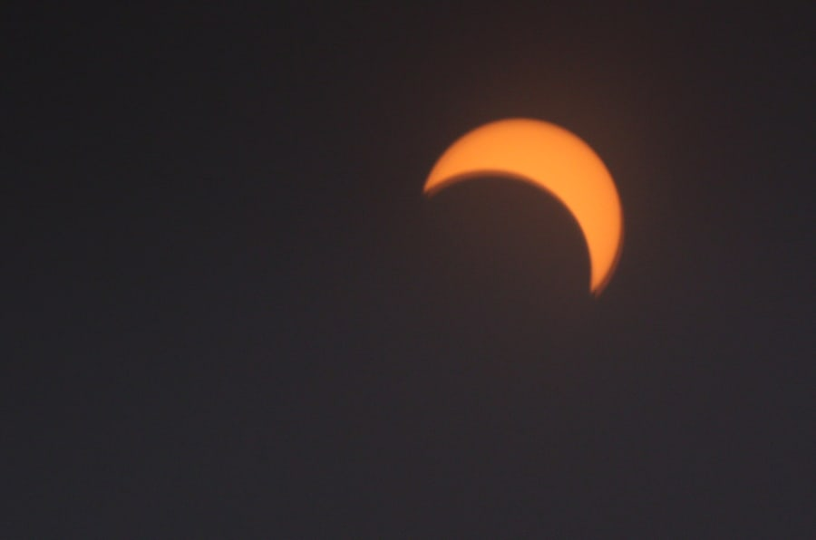 The solar eclipse at it maximum as viewed in Toronto on Aug. 21, 2017.