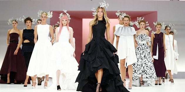 Jennifer Hawkins and models in Maticevski at the Myer Spring 16 Fashion Launch at Hordern Pavilion.