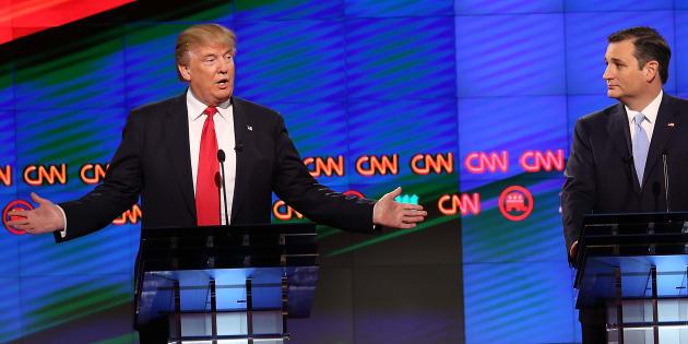 DOnald Trump face à l'utraconservateur républicain Ted Cruz lors des débats de la primaire.
