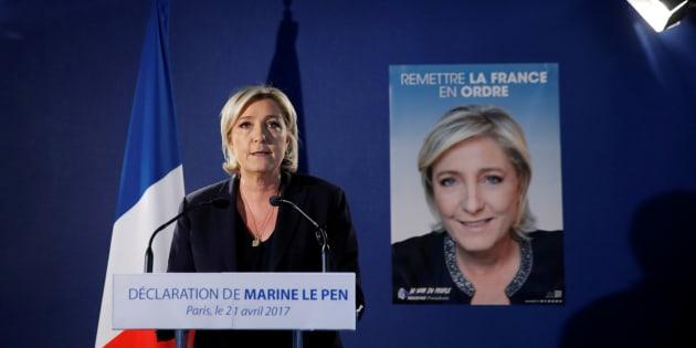 Marine Le Pen, en conférence de presse à Paris le 21 avril 2017, après l'attentat survenu aux Champs Elysées.