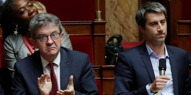 Jean-Luc Melenchon et François Ruffin à l'Assemblée nationale le 2 octobre.