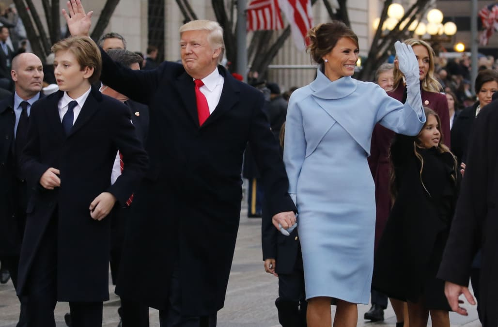 Melania Trump Made Quite A Style Statement On Her First Day As The Lady Of United States Looking Absolutely Lovely In Pale Blue Ralph Lauren