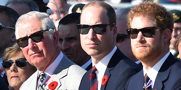 Charles, Prince of Wales, Prince William, Duke of Cambridge and Prince Harry attend a commemoration ceremony at the Canadian National Vimy Memorial in Vimy, France, on April 9, 2017.  (REUTERS/Philippe Huguen/POOL)