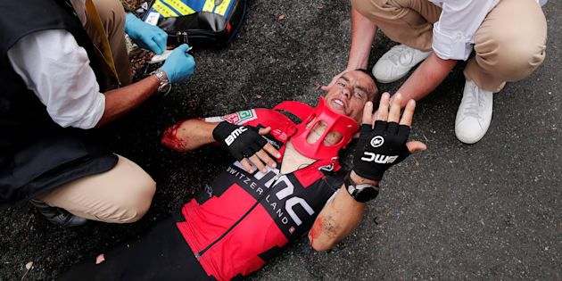 Porte came undone on a slippery twist in the treacherous Mont du Chat descent on day nine of the tour.