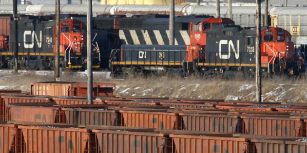 Rail cars sit in the CN MacMillan Yard in Toronto February 10, 2007.