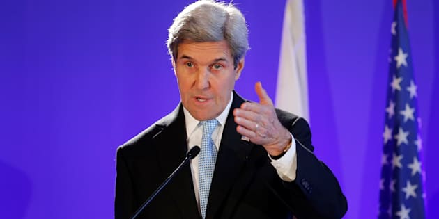 U.S. Secretary of State John Kerry attends a news conference in Paris.