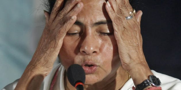 Mamata Banerjee, Chief Minister of India's eastern state of West Bengal, gestures during a news conference after a meeting of her Trinamool Congress party (TMC) in Kolkata.