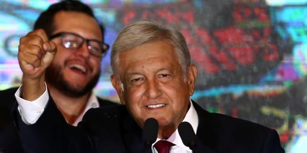 Andrés Manuel López Obrador durante su discurso de triunfo este 1 de julio de 2018.
