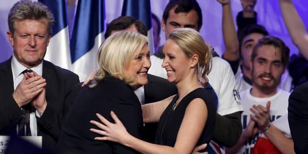 Marine Le Pen et Marion Maréchal-Le Pen à Paris en 2015.