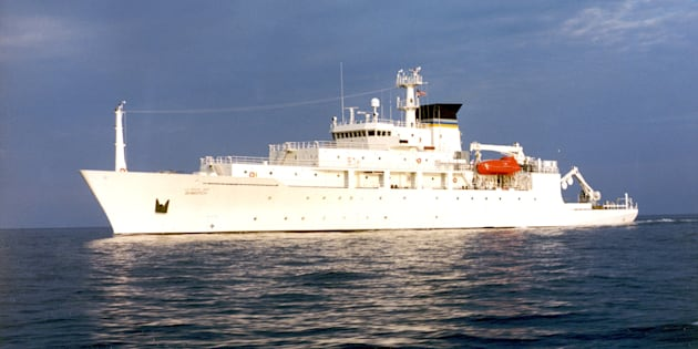 The oceanographic survey ship, USNS Bowditch, is shown September 20, 2002, which deployed an underwater drone seized by a Chinese Navy warship in international waters in South China Sea, on Dec. 16, 2016.