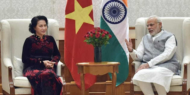 PM Narendra Modi with President of the National Assembly of Vietnam, Nguyen Thi Kim Ngan at a meeting in New Delhi on Friday.