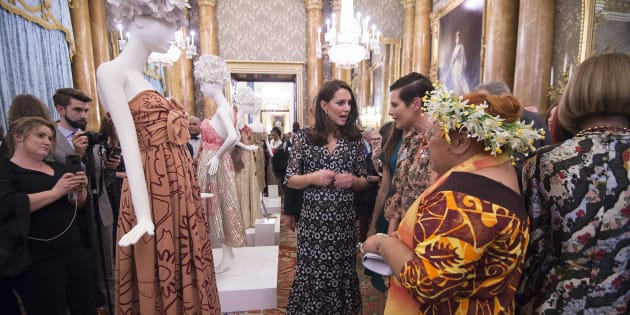 Catherine, Duchess of Cambridge, and Tukua Turia from The Cook Islands, attend The Commonwealth Fashion Exchange Reception at Buckingham Palace.