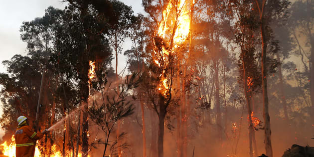 Conditions have eased in NSW where firefighters are trying to contain a devastating bushfire.