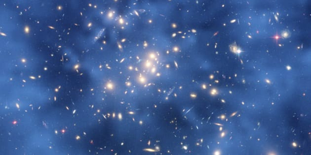 This undated image from the Hubble Space Telescope shows a ghostly ring of dark matter in a galaxy cluster designated Cl 0024+17.