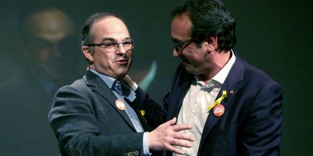 Los exconsellers y candidatos de Junts per Catalunya Jordi Turull y Josep Rull, durante el mitin de la formación celebrado esta noche en Reus.