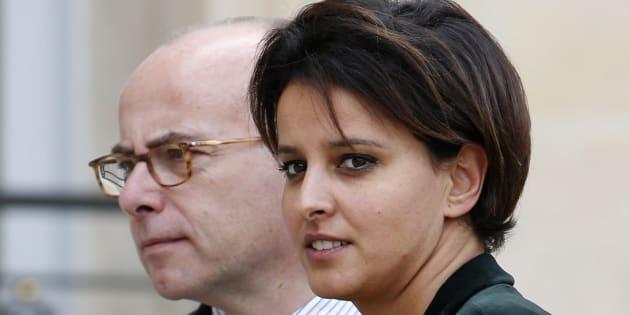 Najat Vallaud-Belkacem et Bernard Cazeneuve, à l'Elysée en 2014.