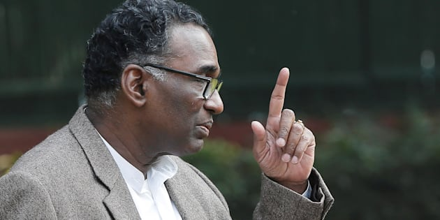 Justice Jasti Chelameswar gestures as he speaks during the news conference in New Delhi, India, January 12, 2018. REUTERS/Adnan Abidi