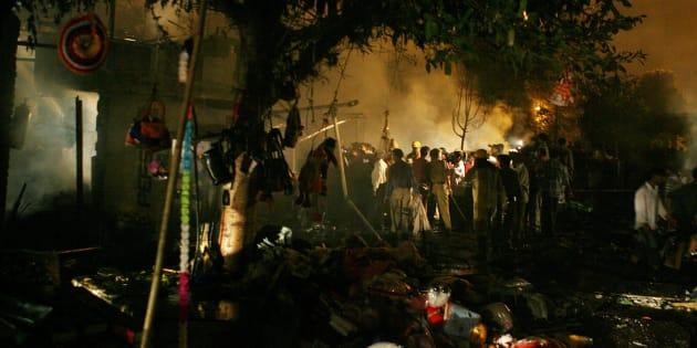View of the scene of an explosion in Sarojini Nagar market in New Delhi October 29, 2005.
