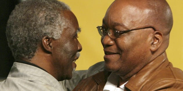 Thabo Mbeki and Jacob Zuma embrace at the ANC's national conference at Polokwane in 2007.