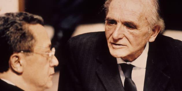 L'ex-officier nazi Klaus Barbie à son procès devant la cour d'assises de Lyon le 11 Mai 1987.