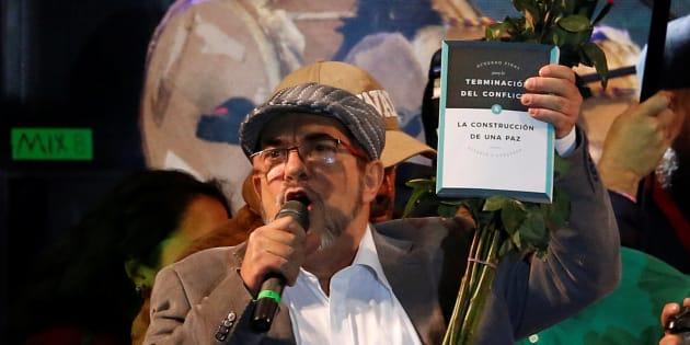 Rodrigo Londoño, durante su discurso en la presentación del nuevo partido político en que han cuajado las FARC, el pasado 1 de septiembre en Bogotá.
