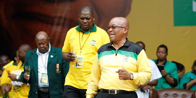 ANC leaders Zweli Mkhize and Jacob Zuma toasting during the launch of the ANC's Election Manifesto at Mbombela stadium in  2014 in Nelspruit. Photo by Vathiswa Ruselo/Sowetan/Gallo Images/Getty Images