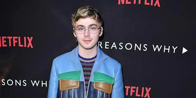 Miles Heizer who plays Alex Standall arrives at the Premiere Of Netflix's '13 Reasons Why' at Paramount Pictures on March 30, 2017, in Los Angeles, California.