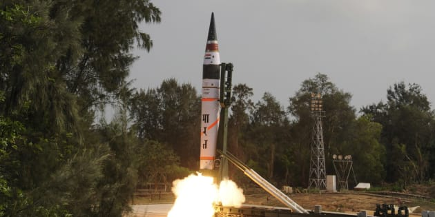 A surface-to-surface Agni V missile is launched from the Wheeler Island off the eastern Indian state of Odisha in 2012.